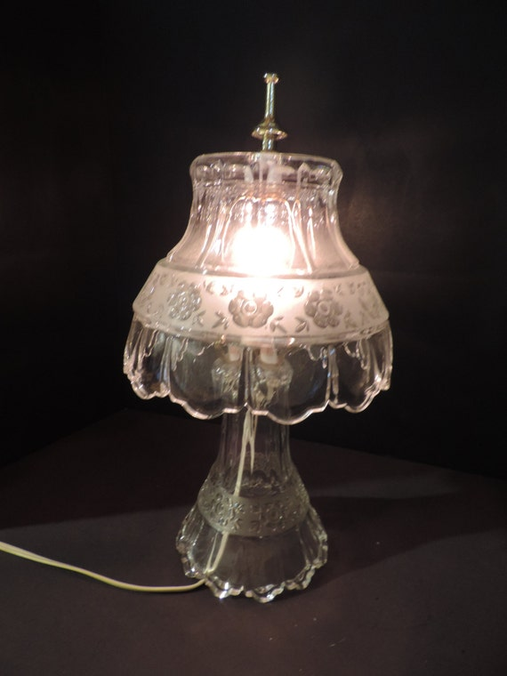 Night Light Vintage Lighting Etched Glass Lamp Table Lamp