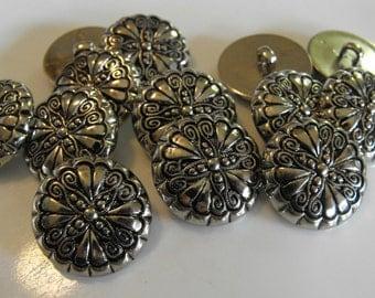 "13 Silver Swirled Flower Round Shank Buttons Size 15/16""."