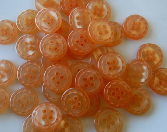 "22 Light Orange Dash Rim Small Round Buttons Size 9/16"""