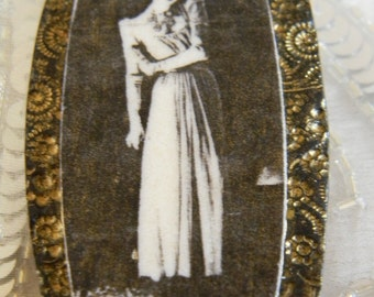 Vintage Girl Pearl and Black Transfer Polymer Clay Brooch