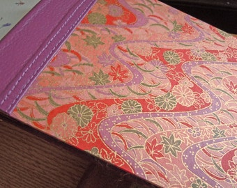 Salmon Red and Purple Yuzen Blank Guest Book Album