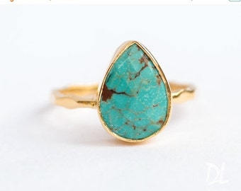 SALE - Turquoise Ring Ring - December Birthstone Ring - Gem Ring - Solitaire Ring - Gold Ring - Stackable Ring - Tear Drop Ring - Gold Ring