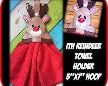 In the Hoo Reindeer Towel Holder Embroidery Machine Design
