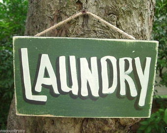 LAUNDRY ROOM - Country Rustic Primitive Shabby Chic Wood Handmade Sign Plaque