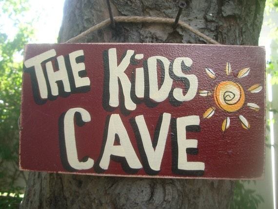 THE KIDS CAVE - Country Rustic Primitive Shabby Chic Wood Handmade Kids Teens Room Sign Plaque