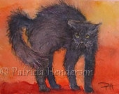 """SCAREDY CAT Original Watercolor ACEO painting 2.5 X 3.5"""""""