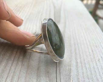 Vessonite green sterling ring