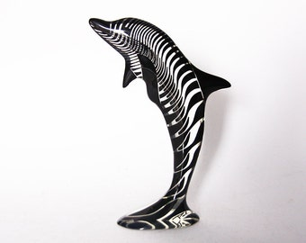 Vintage LARGE  Abraham Palatnik Lucite Dolphin Figurine