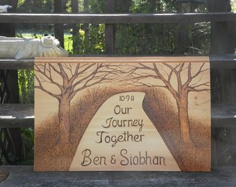 Anniversary or wedding gift custom made signs- large pyrography portrait you design  anything is possible