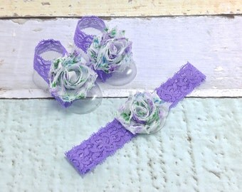 Barefoot Baby Sandals - Baby Barefoot Sandals - Baby Accessories - Baby Shoes - Toe Blooms -  Purple Floral Barefoot Sandals