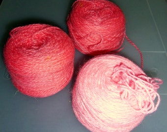 Two Skeins of Salmon and One Skein of Light Peach Yarn, Vintage