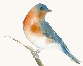 Original Watercolor Painting Blue and Orange Bird