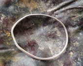Silver Hammered Organic Shape Bangle - Inspired by Henry Moore - Size Medium -  men or women