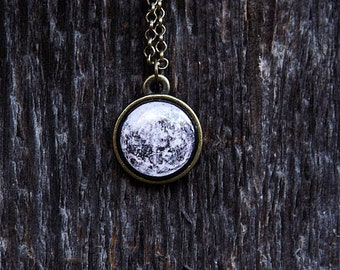 Tiny Full Moon Necklace, Tiny Pendant, Black & White, Planets Jewelry, Space Jewelry, Solar System Necklace, Midnight, Gifts, FREE SHIPPING