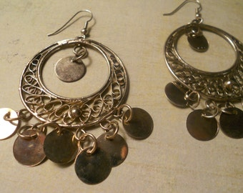 Tribal Silver Hoop Earrings with an Ethnic India Boho Feel - Silver Discs for Moving Bling