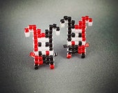 Harley Quinn Earrings - Batman Villain Earrings Pixel Earrings Comic Earrings 8-bit Jewelry Seed Bead Earrings Pixel Jewelry