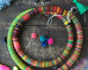 The Charleston: 12mm Vintage African Vinyl Record Beads, Multi Color Bright Tribal Fall Boho Fashion, Statement Jewelry Making Supply