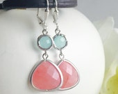 Coral Pink Teardrop and Aqua Jewel Dangle Earrings in Silver. Fashion Earrings. Bridesmaid Earrings. Drop Earrings.