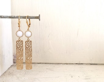 Small Gold Rectangle Earrings with White Stones.  Drop Earrings. Dangle. Geometric. Simple. Jewelry Gift for Her.  Gift. Jewelry.