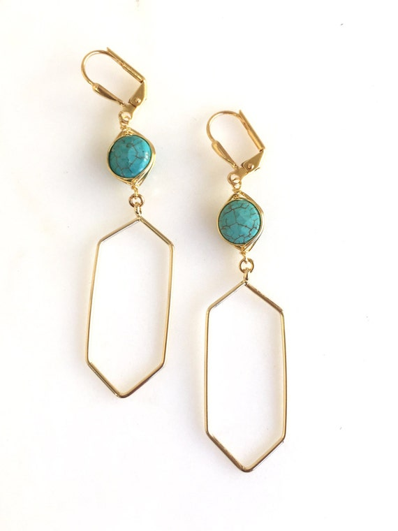 Turquoise Stone Geometric Dangle Earrings.  Turquoise Drop Earrings. Large Gold Dangle Earrings.  Turquoise Jewelry.  Gift for Her.  Jewerly