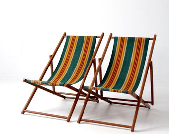 vintage deck chairs, stripe beach folding chair