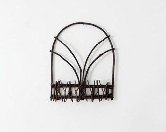 SALE vintage wall basket, twig shelf, rustic country decor