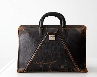 SALE vintage leather doctor's bag, black satchel tote
