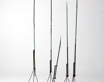 antique American lightning rods, 5 pc collection copper verdigris lightning rods