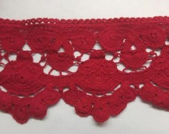 red or brown Cotton Venice scalloped  lace trim 3""