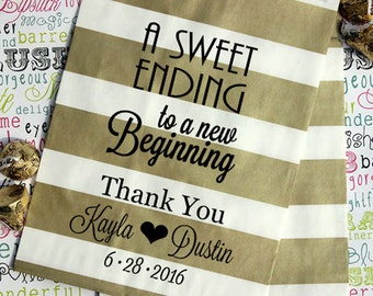 "150 Personalized Wedding Candy Bags, ""A Sweet Ending to a New Beginning"", Favor Bags with Names and Date, Custom Printed Party Favor Bags"