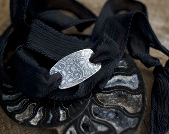 Black Silk Bracelet, Sterling Silk Bracelet, Silk Wrap Bracelet, Rustic Bracelet, Flower Imprint, Vine Emboss