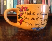 "L.M.M. Montgomery ""What a splendid day!"" Hand painted, ceramic literary quote mug - Large, vivid orange latte mug with flowers"