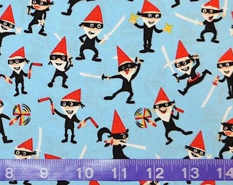 Michael Miller. Ninja Gnomeville Toss (quilter's weight woven cotton) - BTY Cotton Fabric - Choose your cut