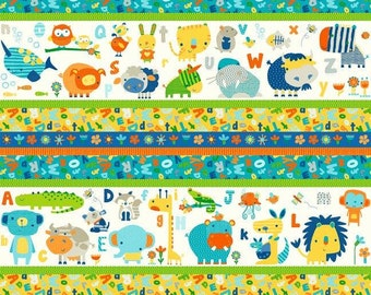 Northcott. A is for Alligator. Animal Stripe - Cotton fabric BTY - Choose your cut