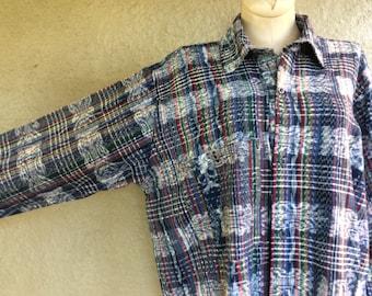 Guatemalan Handwoven Shirt - Ikat Weave - Unisex Button Down Shirt