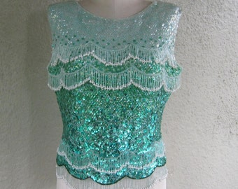 Maison Mendessolle Beaded Sleeveless Top - Sequin Top - Green 60s Beaded Fringe Top