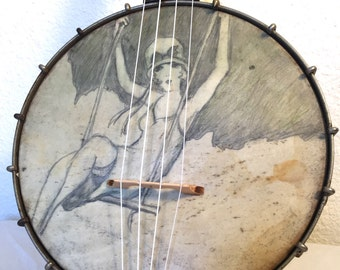 Vintage Flapper Girl Painted On A BANJO UKULELE banjolele Uke Regal pre war