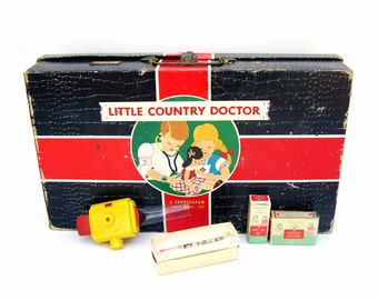 Vintage Toy Medical Kit Little Country Doctor Play Set Mid century Children Toys Physician Gift Retro Graphics