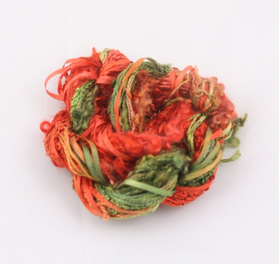 Berry red leaf green silk sewing thread ribbon embroidery
