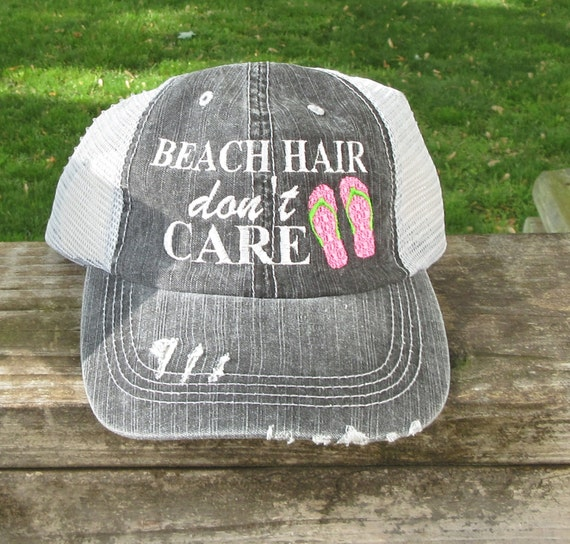 Beach Hair Don't Care with Flip Flops Embroidered by lana5753