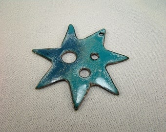 Seven Pointed Star Totem DIZ in Hammered Copper and Enamels 3 Inches Across...