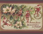 Xmas Gnomes- 1900s Antique Postcard- Christmas Elves- Mistletoe Flowers- Auld Acquaintance- Old Fashioned- Holiday Art Card- Paper Ephemera
