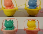 Vintage Sanrio Hello Kitty Sitting in Basket with Bow Trinket/Ornament 4 Trinkets - 1976-1991