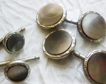 Art Deco Mother of Pearl Hickok Cuff Links w/ Stays