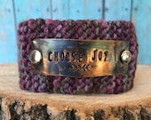 Scripture Hand Stamped Knitted Boho Style Cuff Bracelet, Choose Joy Bracelet, Religious Custom Jewelry Gift Under 50 for Her