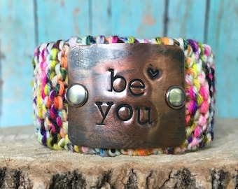 Be YOU Custom Stamped Positive Bracelet, Inspirational Quote Wrap Bracelet, Motivational Neon Color Jewelry