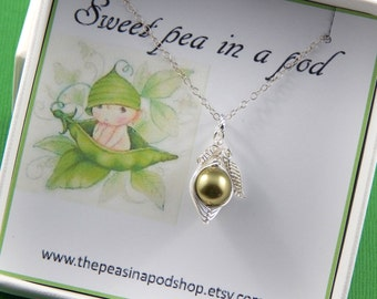 Sweet Pea In A Pod Gift Box With A Sterling Silver Necklace. New baby, Friendship Necklace, Sisters, Shower Gift Choose Your Colors