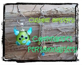 Custom Lampwork monster earrings, asymetrical