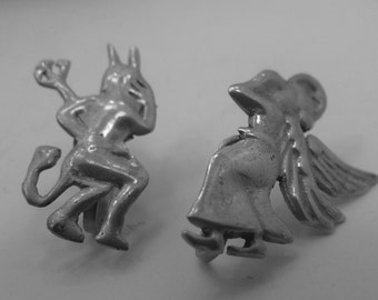 Vintage Screw Back Earrings : Angel & Devil One Over Each of Your Shoulders Silver Mexico (88.236)