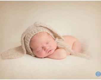 Newborn Bunny Bonnet Prop, Photo Prop Alpaca Silk Bonnet Photo Prop Bunny Bonnet Hat Newborn Photo Prop Easter Bunny Bonnet, Newborn Size